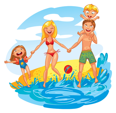 young schoolchild: Young family with two kids on vacation. Funny cartoon character. Vector illustration. Isolated on white background Illustration