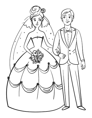 sweethearts: Bride and groom. Front view. Funny cartoon character. Posing together. Vector illustration. Isolated on white background. Coloring book. Black and white