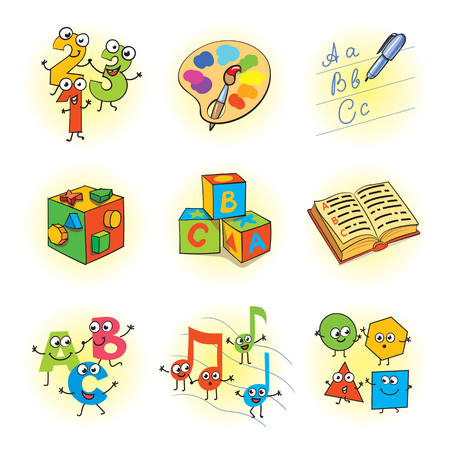 l�gica: Logic games for kids. Funny cartoon character. Set