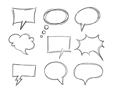 Freehand drawing bubble speech items. Pencil drawing. Isolated on white background. Vector illustration. Set Ilustração