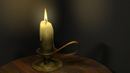looping: The high-quality looping animation of the burning candle on the table. Wax candle in the candelabra flickering in the dark (seamless loop, HD, high definition 1080p)