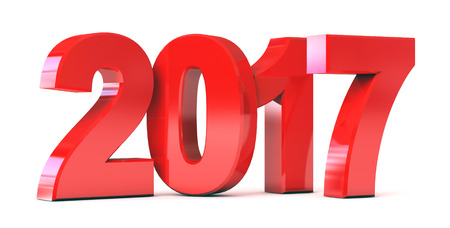 next year: Red new year 2017. Conceptual illustration. Isolated on white background. 3d render