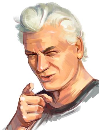 visage homme: Portrait d'un homme écrit à la main. L'homme pointe son doigt vers vous Banque d'images