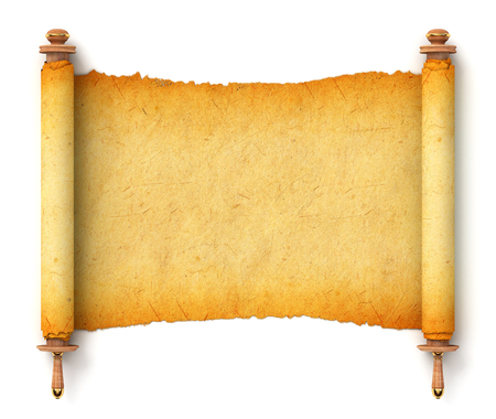 Ancient empty scroll. Torah unfurled with wooden handles. Torn piece of paper, ready for your message. Top view. Conceptual illustration. Isolated on white background. 3d render Stock Photo