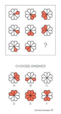 Test de QI. Choisissez réponse correcte. tâches logiques composées de formes géométriques. Vector illustration