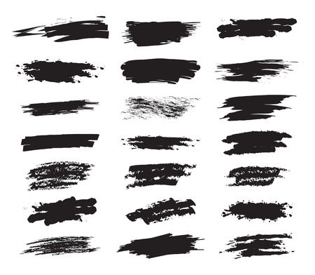 Collection hand drawn brush strok for your design. Grunge paint stripe. Scribble stains. Charcoal chalk texture. Vector illustration. Isolated on white background Illustration