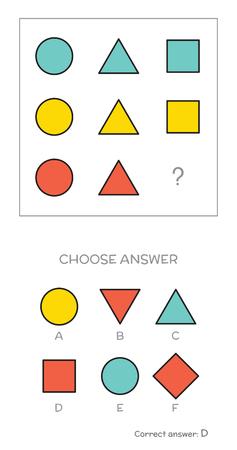 IQ test. Choose correct answer. Logical tasks composed of geometric shapes. Vector illustration