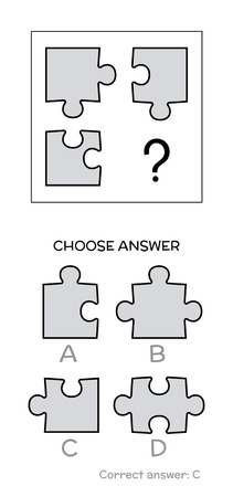 IQ test. Choose correct answer. Logical tasks composed of puzzles shapes. Vector illustration