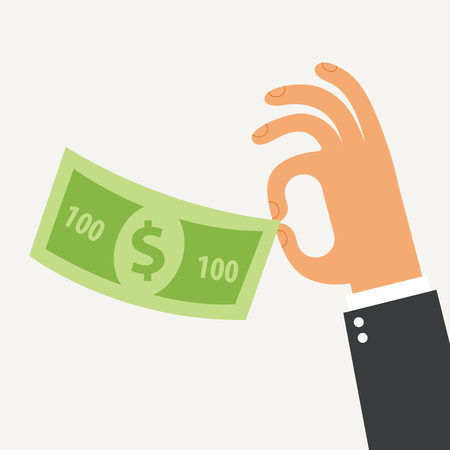 Businessman holding in his hand the hundred dollars. Flat Design. Vector illustration. Isolated on white background Illustration