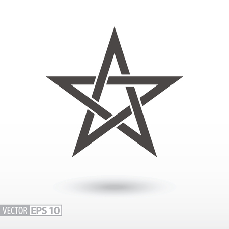 Star flat icon. Sign Star. 5-point Celtic star knot. Pentagram. Vector logo for web design, mobile and infographics. Vector illustration eps 10. Isolated on white background.