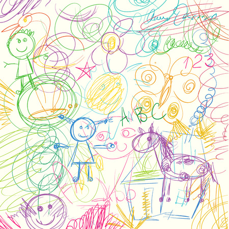 Children doodle. Colored pencils scribbles made by a little kid. Vector illustration