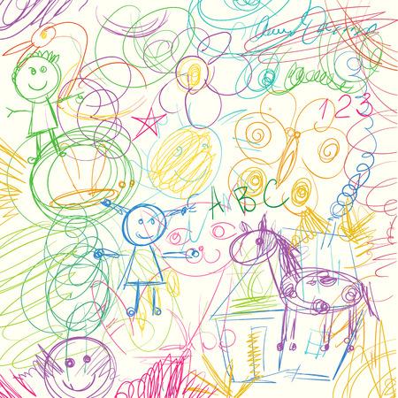 Niños doodle. Lápices de colores garabatos hechos por un niño. Ilustración del vector