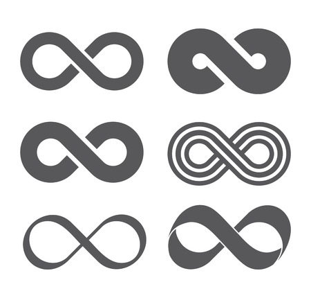 Infinity sign. Infinity flat icon. Mobius strip. Vector logo for web design, mobile and infographics. Vector illustration eps 10. Isolated on white background. Set