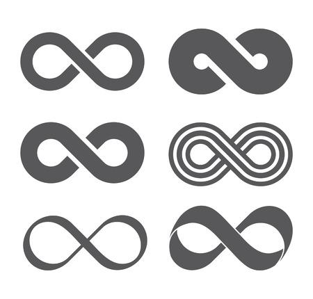 Infinity teken. Infinity flat icoon. Mobius strip. Vector logo voor web design, mobiel en infographics. Vector illustratie eps 10. Geïsoleerd op witte achtergrond. set