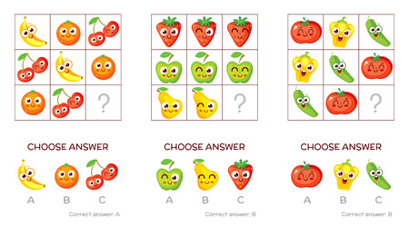 cartoon kid: IQ test. Choose correct answer. Logical tasks made up of fruits and vegetables. Funny cartoon character. Vector illustration