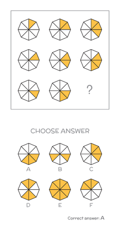 iq: IQ test. Choose correct answer. Logical tasks composed of geometric shapes. Vector illustration
