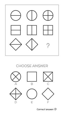Intelligenztest. Wählen Sie Antwort. Logische Aufgaben bestehen aus geometrischen Formen. Vektor-Illustration Vektorgrafik