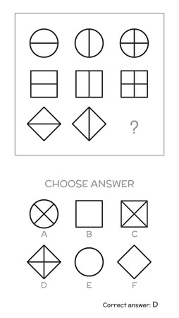 IQ test. Choose answer. Logical tasks composed of geometric shapes. Vector illustration Vektoros illusztráció