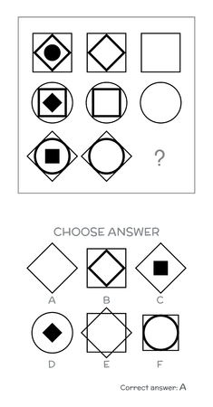to the right: IQ test. Choose correct answer. Logical tasks composed of geometric shapes. Vector illustration