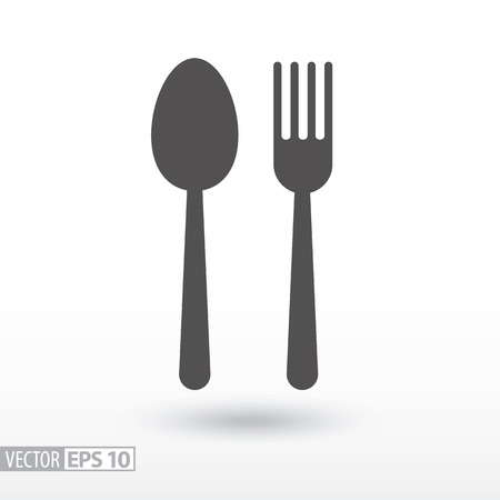 Fork and spoon flat icon. Sign Food. Vector logo for web design, mobile and infographics. Vector illustration eps10. Isolated on white background.