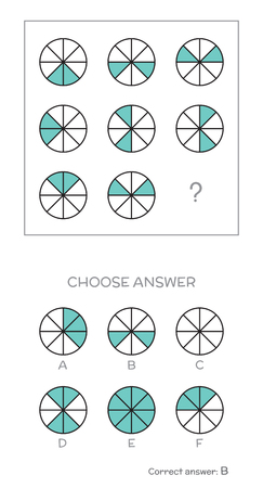 IQ test. Choose correct answer. Logical tasks composed of geometric shapes. Vector illustration