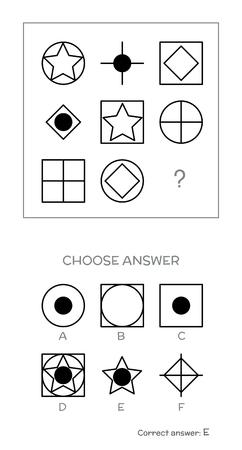 IQ テスト。正しい答えを選択します。論理タスクは、幾何学図形で構成されます。ベクトル図