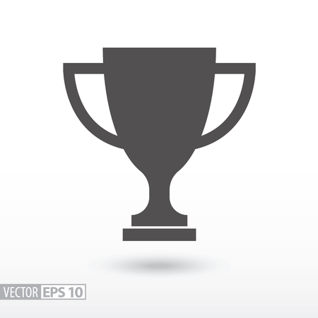 Champions cup flat icon. Sign trophy cup. Vector logo for web design, mobile and infographics. Vector illustration eps10. Isolated on white background.  イラスト・ベクター素材