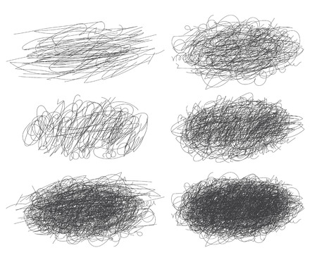Set of ink lines of hand drawn textures, scribbles for your design. Vector illustration. Isolated on white background Illustration