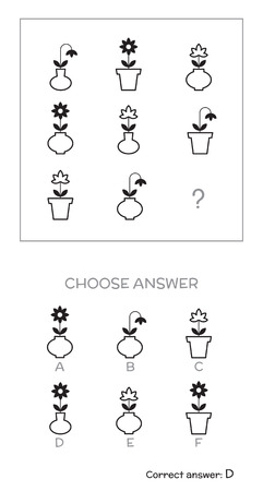 iq: IQ test. Choose answer. Logical tasks composed of geometric shapes. Vector illustration