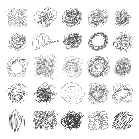Set of ink lines of hand drawn textures, scribbles of pen. Vector illustration. Isolated on white background
