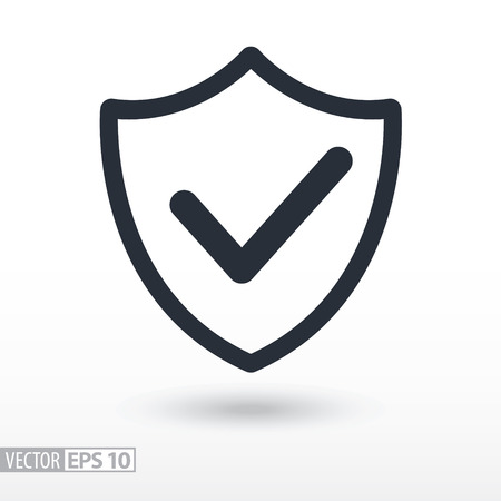 confirmed: Quality is confirmed flat Icon. Sign shield. Vector logo for web design, mobile and infographics. Vector illustration eps10. Isolated on white background.