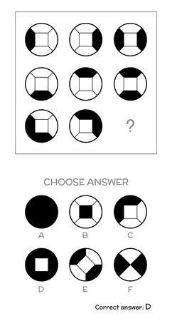 IQ test. Choose answer. Logical tasks composed of geometric shapes. Vector illustration
