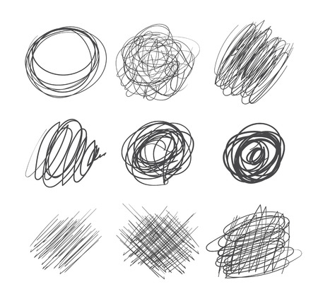 pencils  clutter: Abstract chaotic round sketch. Pencil drawing for your design. Vector illustration. Isolated on white background
