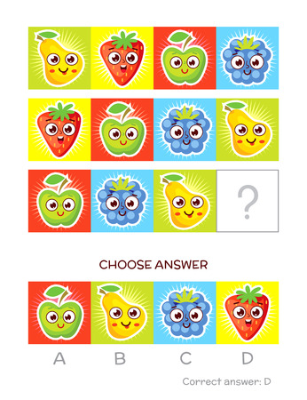 iq: IQ test. Choose correct answer. Logical tasks made up of color fruits. Funny cartoon character. Vector illustration