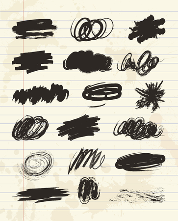 Black stains, scribble hand drawn in brush. Charcoal chalk texture. Vector illustration. On a sheet of exercise book