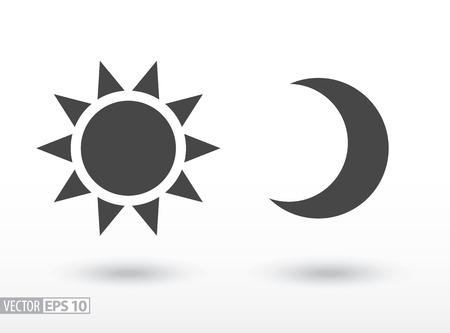 Sun and moon flat icon. Sign sun and moon. Vector logo for web design, mobile and infographics. Vector illustration eps10. Isolated on white background. Illustration