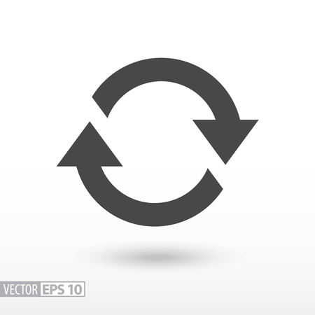 regeneration: Symbol of movement flat icon. Sign rotation, cyclic recurrence. Vector logo for web design, mobile and infographics. Vector illustration eps10. Isolated on white background. Illustration