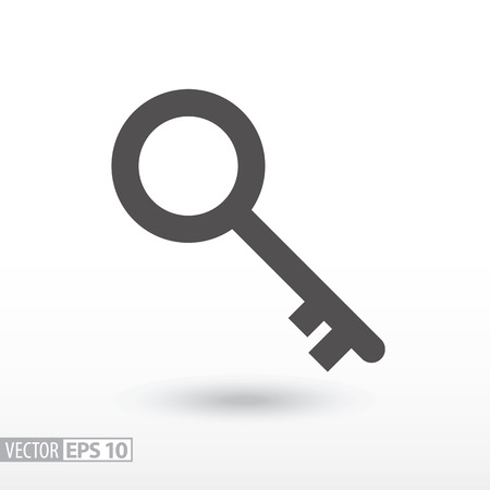 Key flat icon. Sign Key. Vector logo for web design, mobile and infographics. Vector illustration eps10. Isolated on white background. Illustration