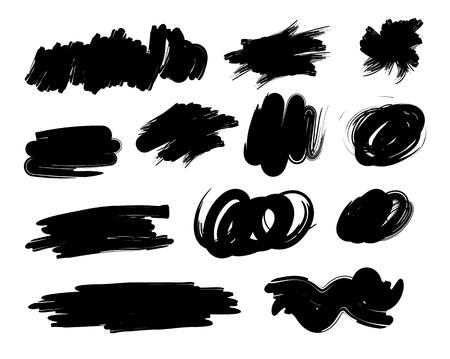 bandas de pintura grunge. pincelada. colección pincel dibujado a mano negro. manchas garabato. Ilustración del vector. Aislado en el fondo blanco