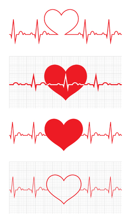 Heart beat cardiogram. Sign Cardiac cycle. Creative concept of world heart day. Logo for web design, mobile and infographics, banner or poster. Vector illustration. Isolated on white background. Set