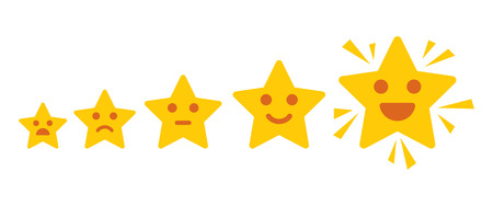 Iconic illustration of satisfaction level. Customer review give a five star. Positive feedback concept. Minimal flat design. Vector illustration. Isolated on white background Illustration