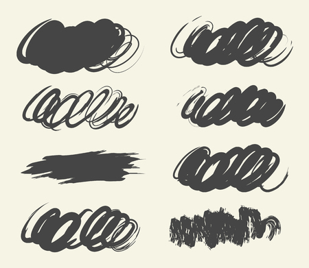 Collection hand-drawn brush strok for your design. Scribble stains. Vector illustration. Isolated on white background