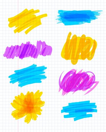 garabatos: Marcador de marcadores. Marcador de colores garabatos. Raya de pintura abstracta. Ilustración del vector. Aislados en fondo blanco Vectores
