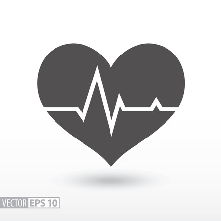 Cardiac cycle flat icon. Sign Cardiogram. Medical icon. Vector logo for web design, mobile and infographics. Vector illustration eps10. Isolated on white background.