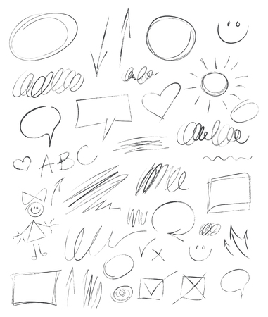 tearing down: Collection hand-drawn pencil elements. Scribble stains for your design. Charcoal chalk texture. Abstract vector illustration. Isolated on white background