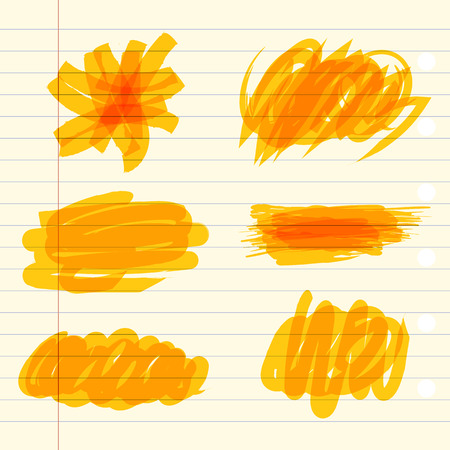 Colored markings of a highlighter pen. Yellow marker scribbles. Vector illustration. On a sheet of exercise book Illustration