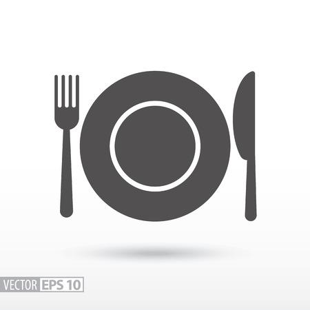 皿フォークとナイフ フラット アイコン。看板料理。Web デザイン、モバイル、インフォ グラフィックのベクトルのロゴ。ベクトル図 eps10。白い背景上に分離。