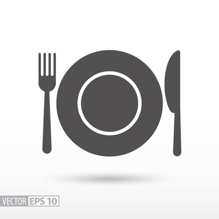 Dish fork and knife flat icon. Sign Food. Vector logo for web design, mobile and infographics. Vector illustration eps10. Isolated on white background.