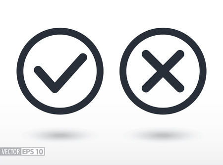 Confirm and deny flat icon. Sign confirm and deny. Vector logo for web design, mobile and infographics. Vector illustration eps10. Isolated on white background.