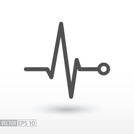 Cardiac cycle flat icon. Sign Heart beat cardiogram. Vector logo for web design, mobile and infographics. Vector illustration eps10. Isolated on white background.